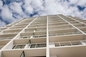 looking up at an extreme angle on high-rise apartments in Mooloolaba, Queensland